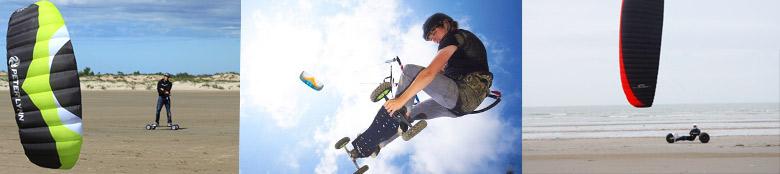 Kite-mountainboard et buggy-kite